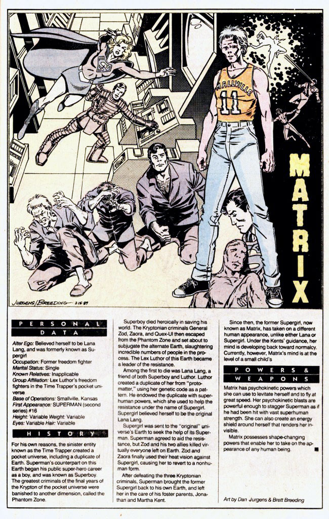 Who's Who 1989 Annual Matrix Supergirl by Dan Jurgens and Brett Breeding