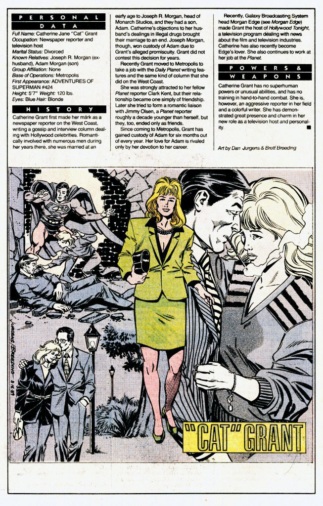Who's Who 1989 Annual Cat Grant by Dan Jurgens and Brett Breeding