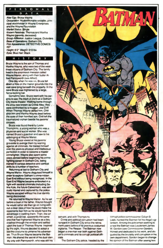 Who's Who 1989 Annual Batman by Art Thibert