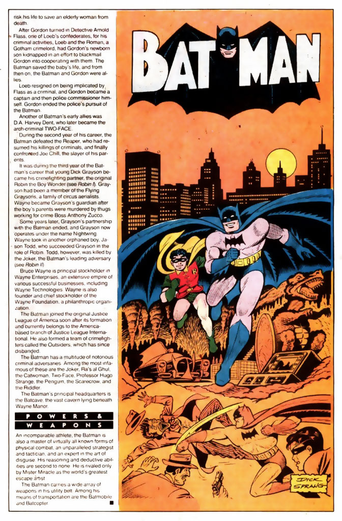 Who's Who 1989 Annual Batman by Dick Sprang