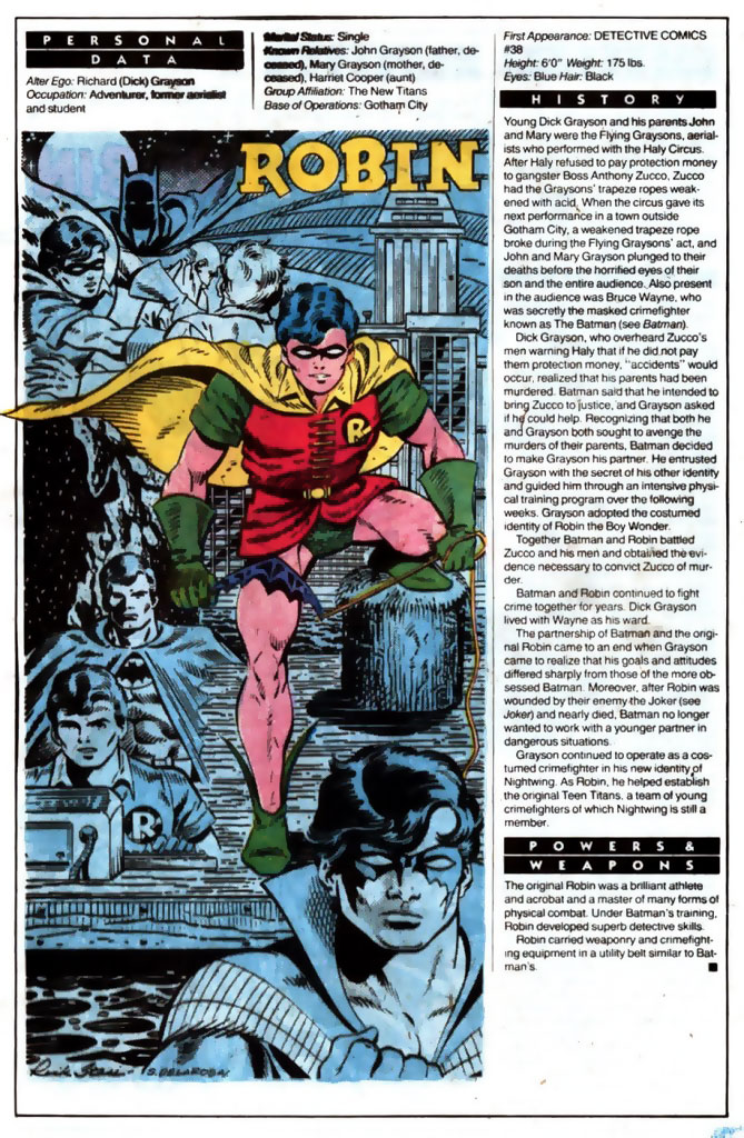 Who's Who 1989 Annual Robin (Dick Grayson) by Rick Stasi and Sam De La Rosa