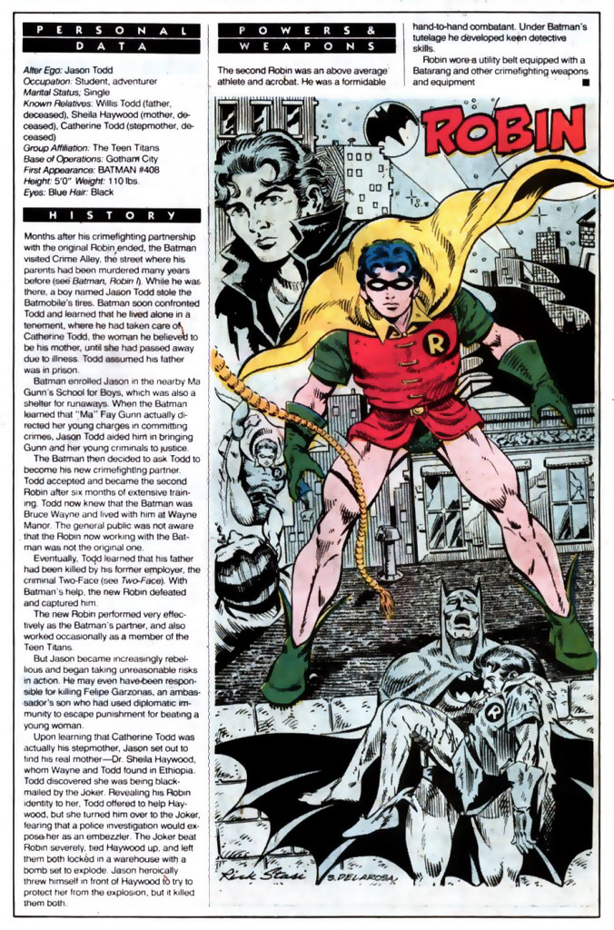Who's Who 1989 Annual Robin (Jason Todd) by Rick Stasi and Sam De La Rosa