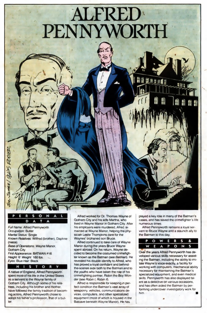 Who's Who 1989 Annual Alfred Pennyworth by Joe James & Denis Rodier