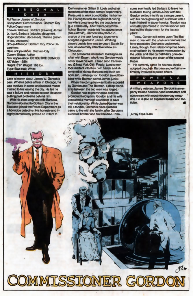 Who's Who 1989 Annual Commissioner Gordon by Fred Butler