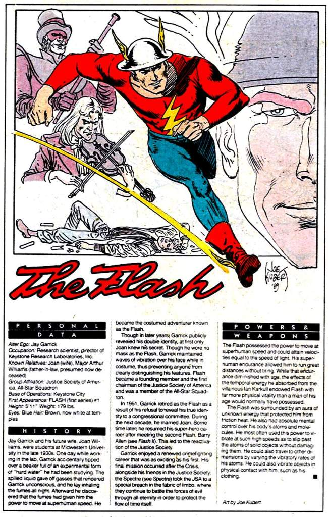 Who's Who 1989 Annual The Flash (Jay Garrick) by Joe Kubert