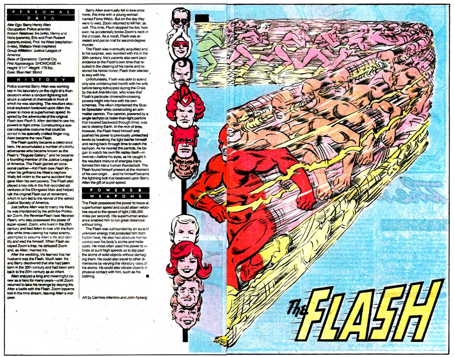 Who's Who 1989 Annual The Flash (Barry Allen) by Carmine Infantino and John Nyberg