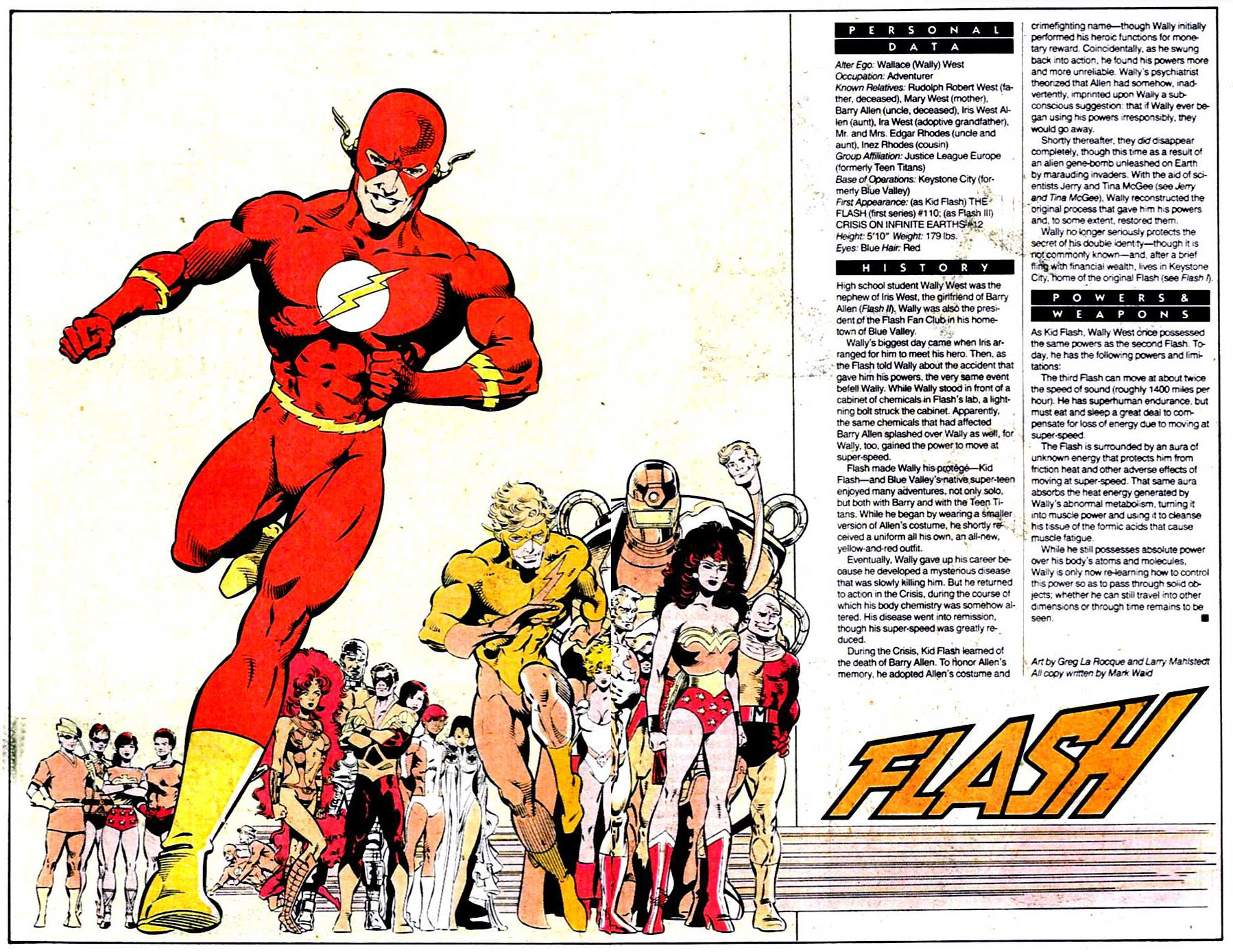 Who's Who 1989 Annual The Flash (Wally West) by Greg LaRocque and Larry Mahlstedt; All copy written by Mark Waid