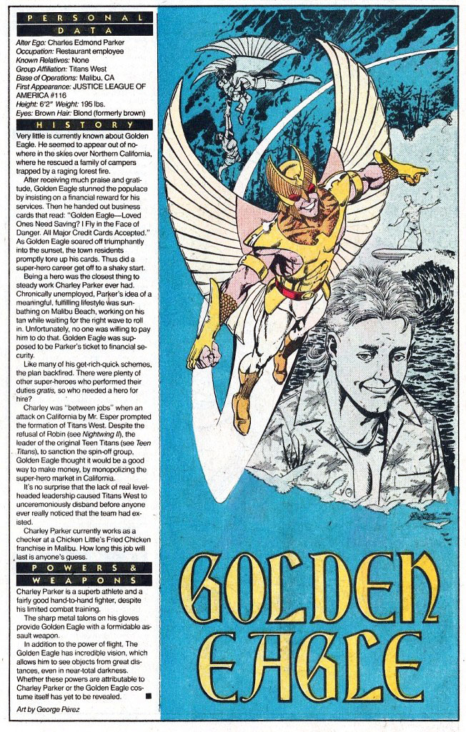 Who's Who 1989 Annual Golden Eagle by George Perez