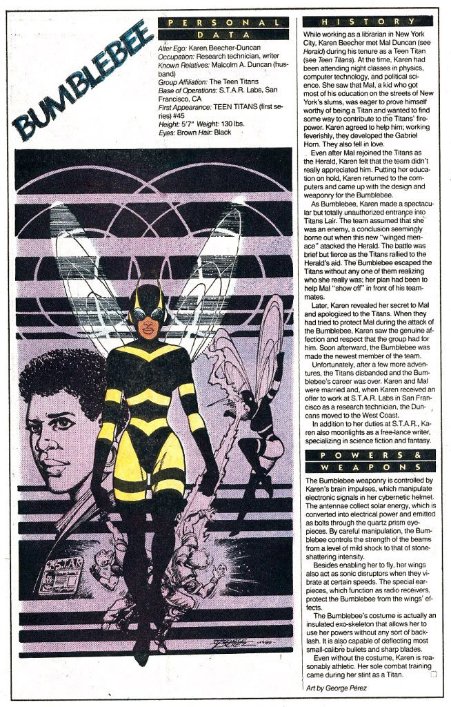 Who's Who 1989 Annual Bumblebee by George Perez