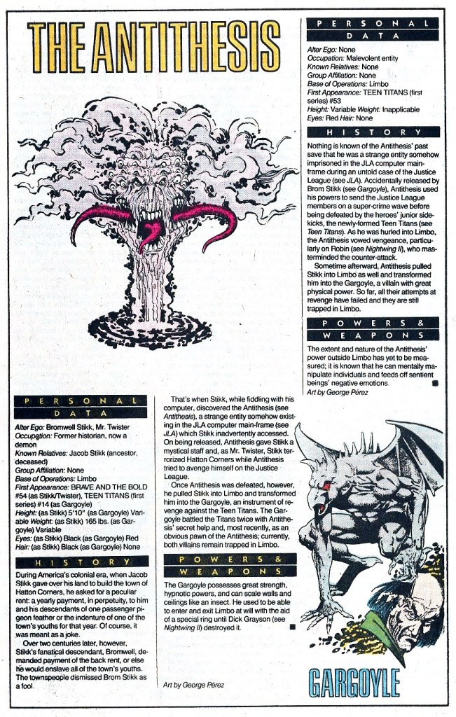 Who's Who 1989 Annual The Antithesis and Gargoyle by George Perez
