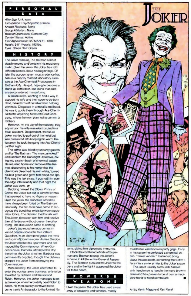 Who's Who 1989 Annual Detective Comics Annual #2 - The Joker by Kevin Maguire and Karl Kesel