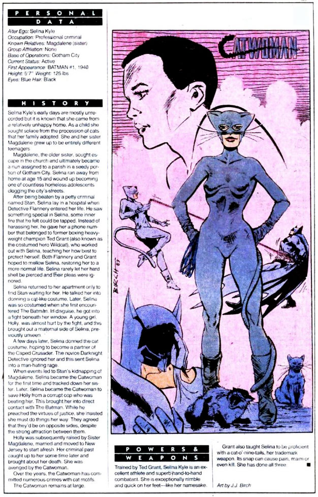 Who's Who 1989 Annual Detective Comics Annual #2 - Catwoman by J.J. Birch