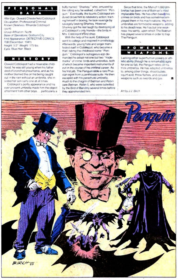 Who's Who 1989 Annual Detective Comics Annual #2 - Penguin by J.J. Birch