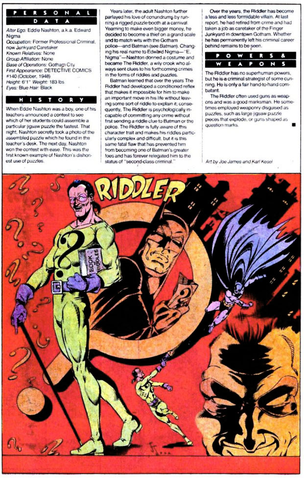 Who's Who 1989 Annual Detective Comics Annual #2 - Riddler by Joe James and Karl Kesel