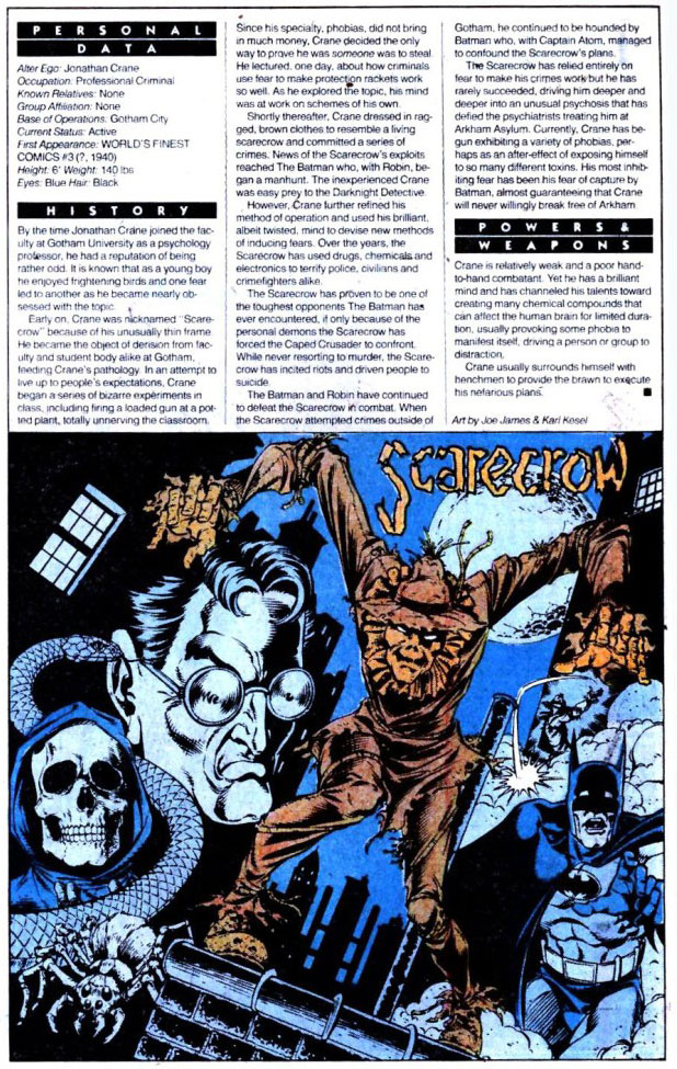 Who's Who 1989 Annual Detective Comics Annual #2 - Scarecrow by Joe James and Karl Kesel