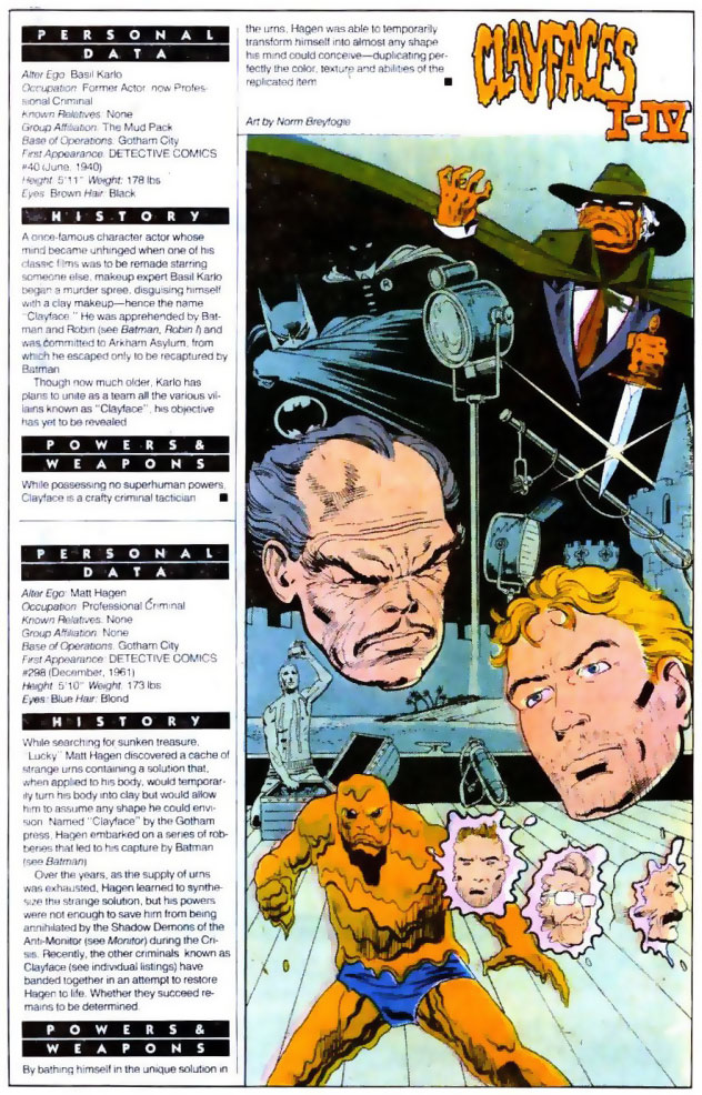 Who's Who 1989 Annual Detective Comics Annual #2 - Clayfaces I-IV by Norm Breyfogle