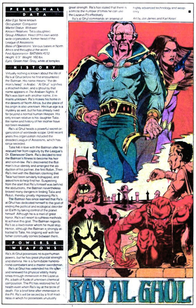 Who's Who 1989 Annual Detective Comics Annual #2 - Ra's al Ghul by Joe James and Karl Kesel