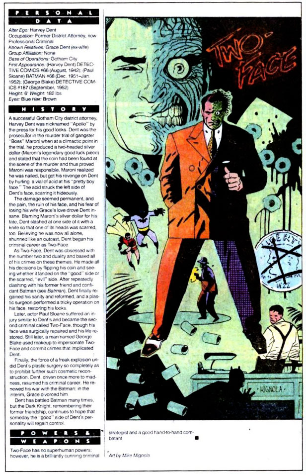 Who's Who 1989 Annual Detective Comics Annual #2 - Two-Face by Mike Mignola