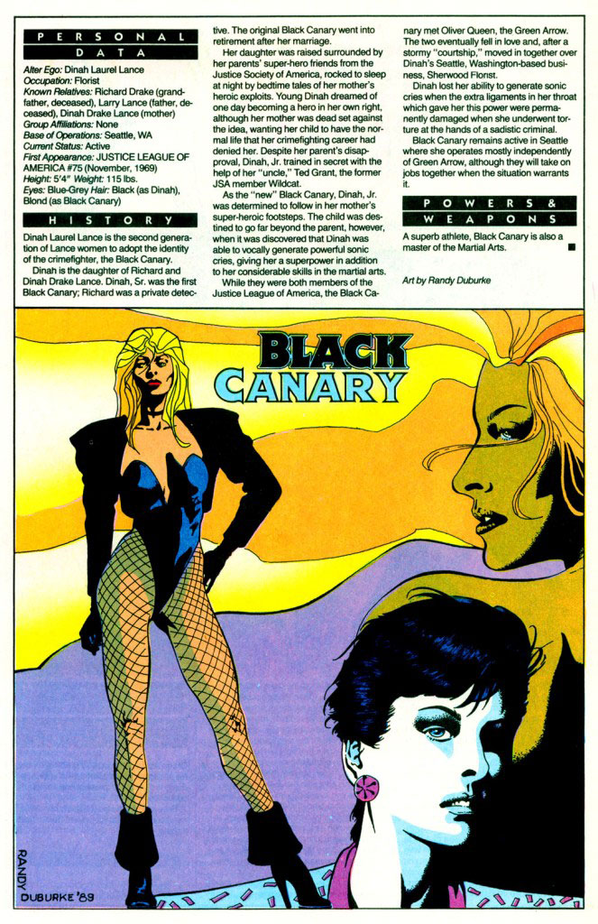 Who's Who 1989 Annual Green Arrow Annual #2 - Black Canary (Modern Age) by Randy Duburke