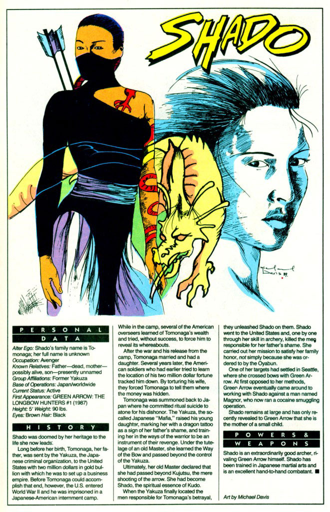 Who's Who 1989 Annual Green Arrow Annual #2 - Shado by Michael Davis