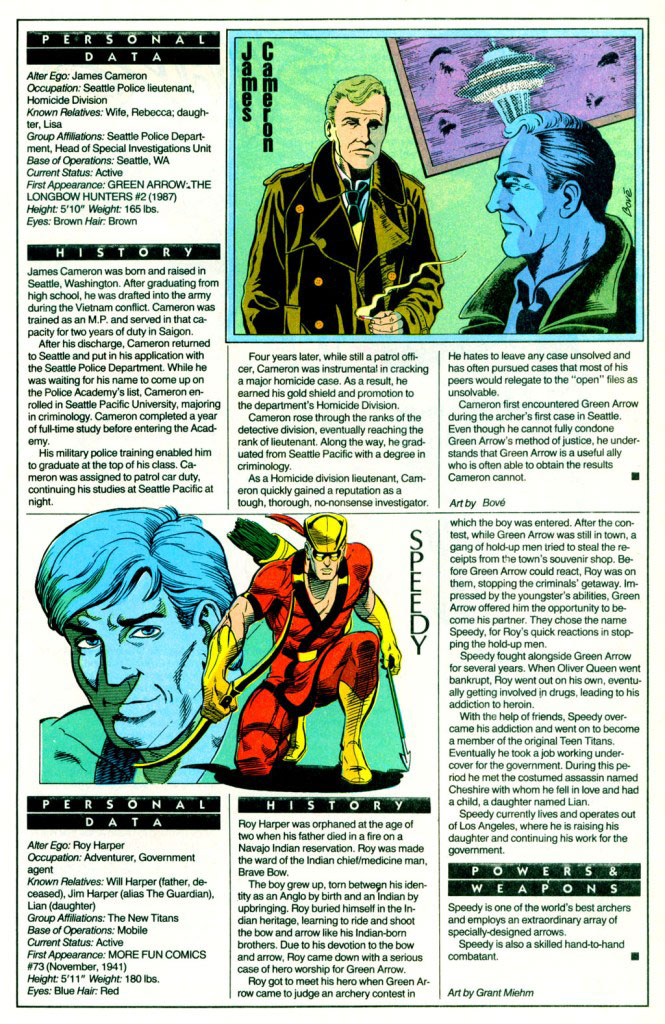 Who's Who 1989 Annual Green Arrow Annual #2 - James Cameron by Bove / Speedy by Grant Miehm