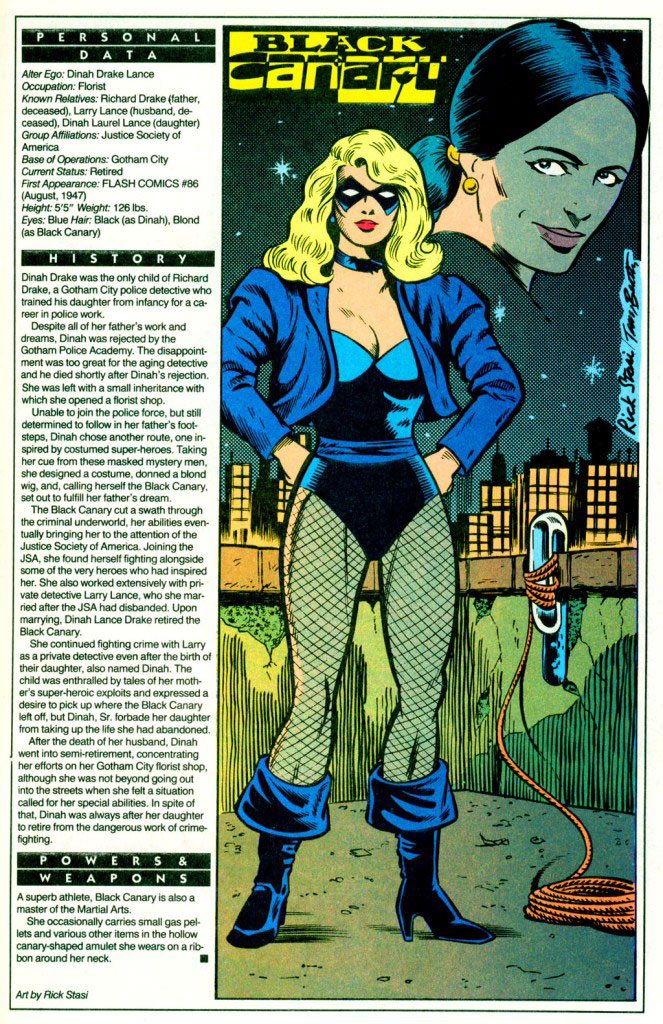 Who's Who 1989 Annual Green Arrow Annual #2 - Black Canary (Golden Age) by Rick Stasi and Terry Beatty