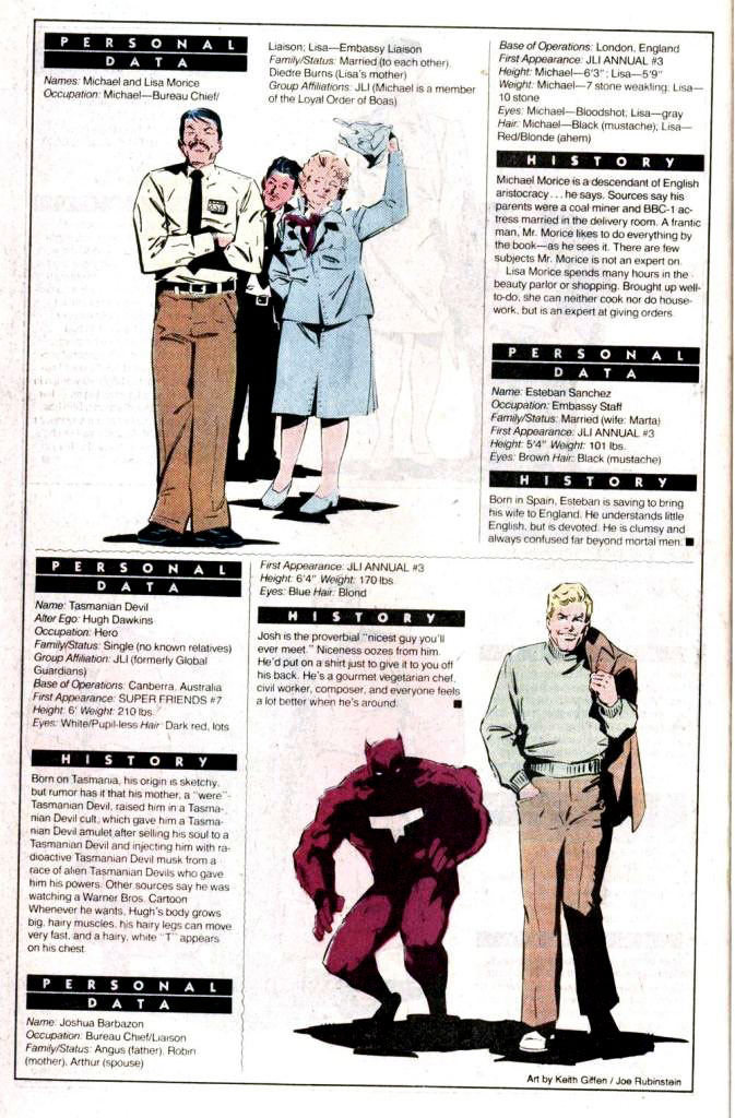 Who's Who 1989 Annual Justice League International Annual #3 - Embassies: England and Australia