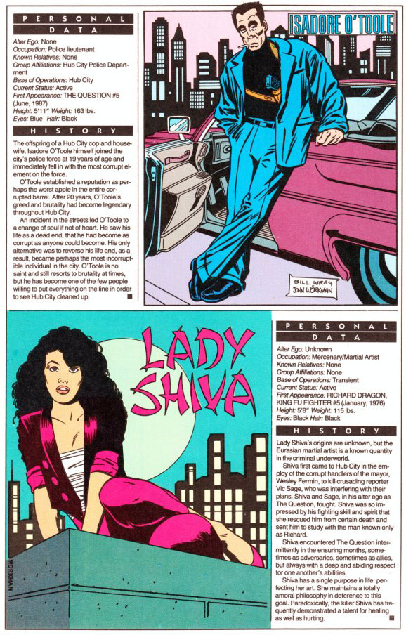 Who's Who 1989 Annual Question Annual #2 - Isadore O'Toole by Bill Wray & John Workman / Lady Shiva by John Workman