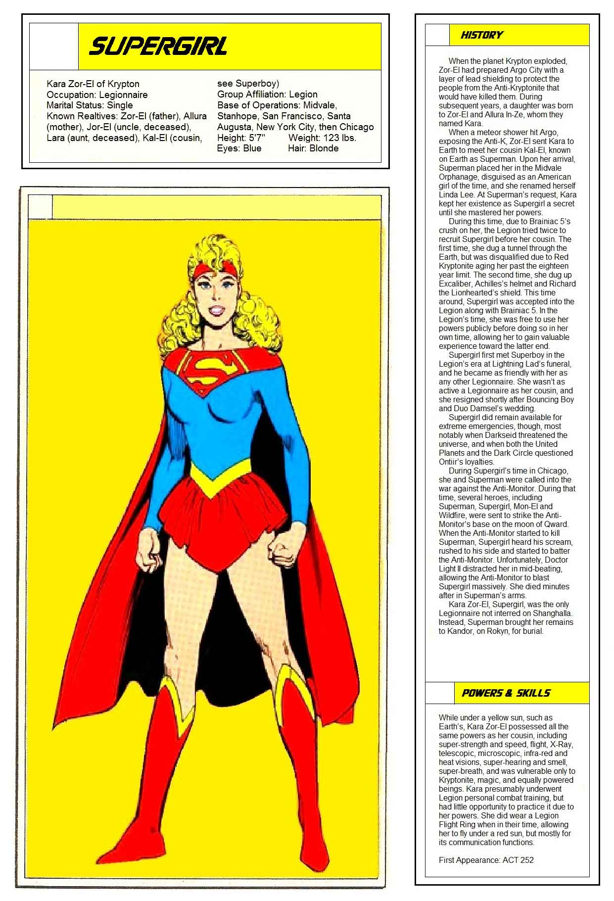 Supergirl from Who's Who in the Legion of Super-heroes
