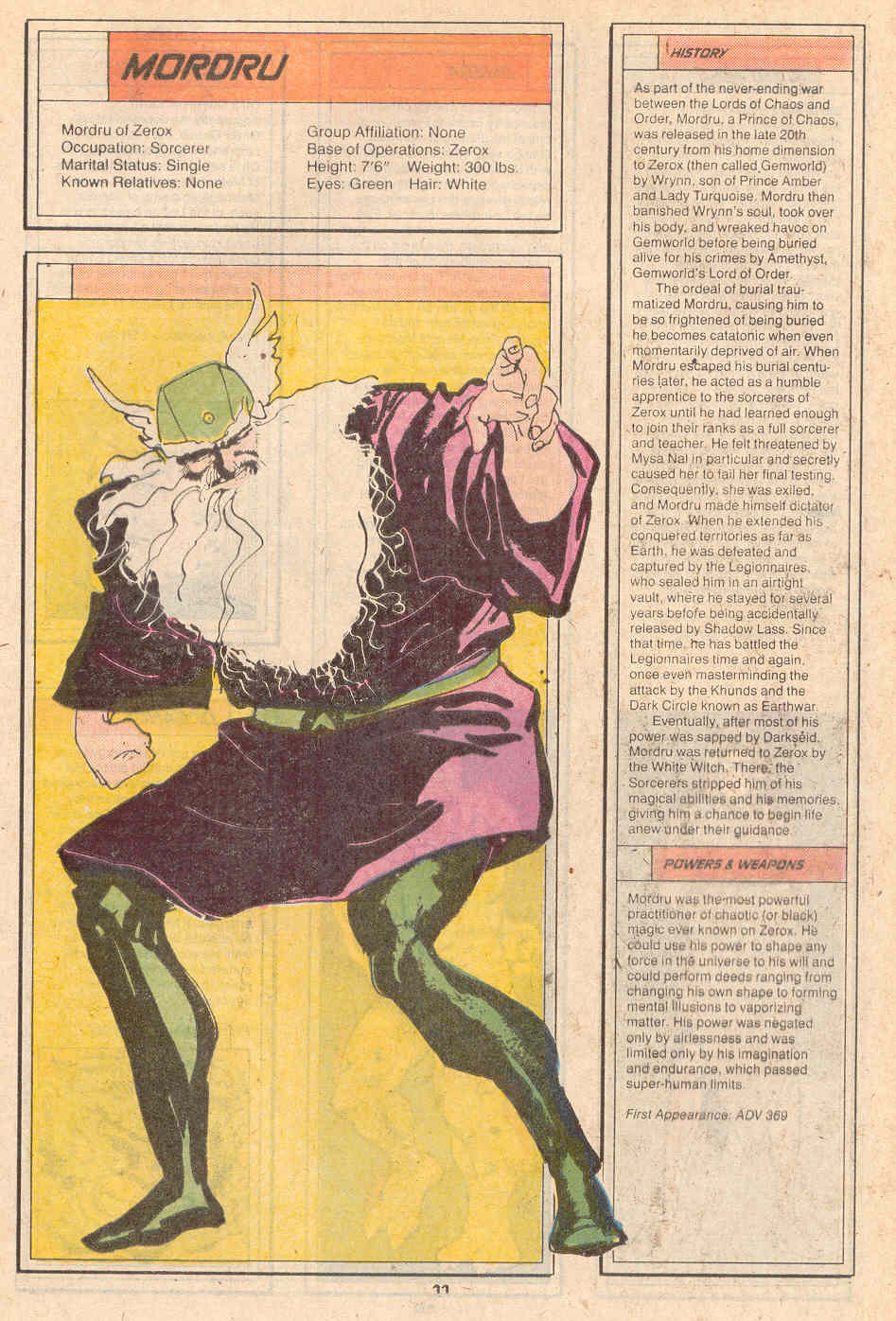 Mordru by Kyle Baker - Who's Who in the Legion of Super-Heroes #5