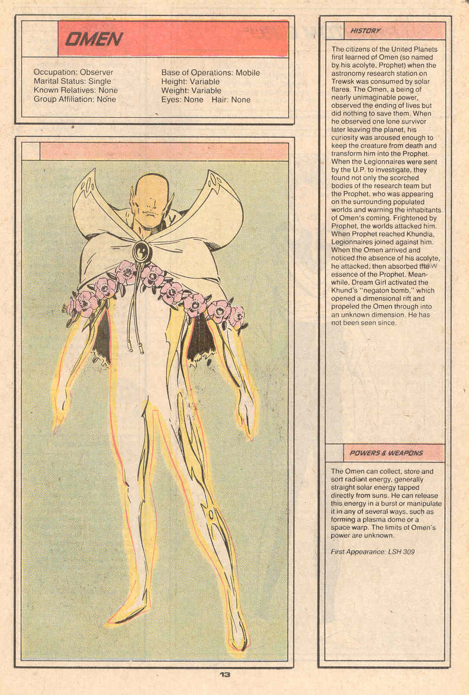 Omen by Keith Giffen and Jim Sanders - Who's Who in the Legion of Super-Heroes #5