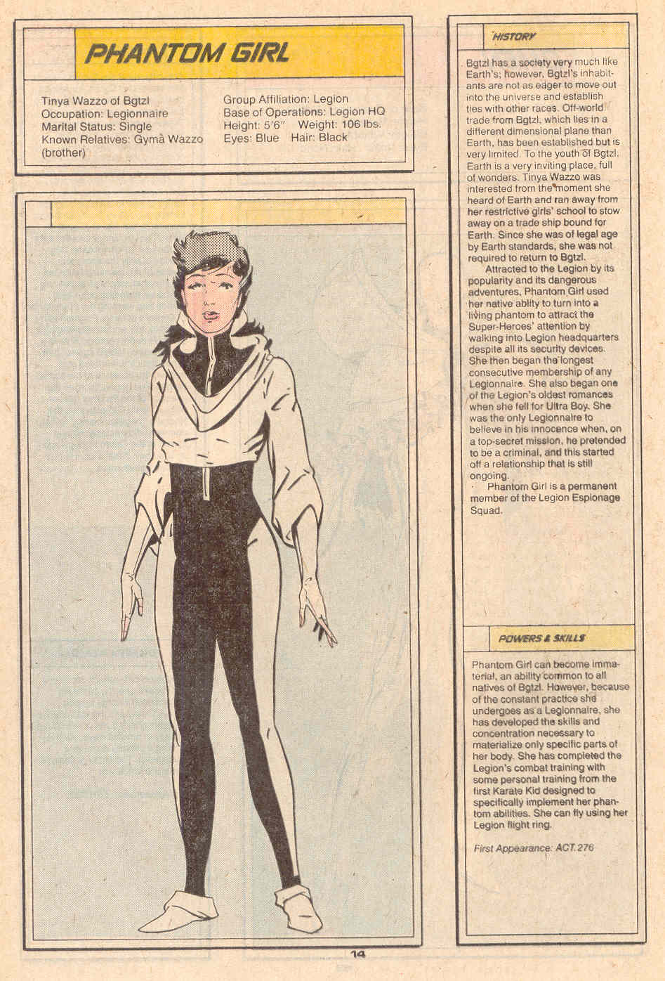 Phantom Girl by Keith Giffen and Bob Smith - Who's Who in the Legion of Super-Heroes #5