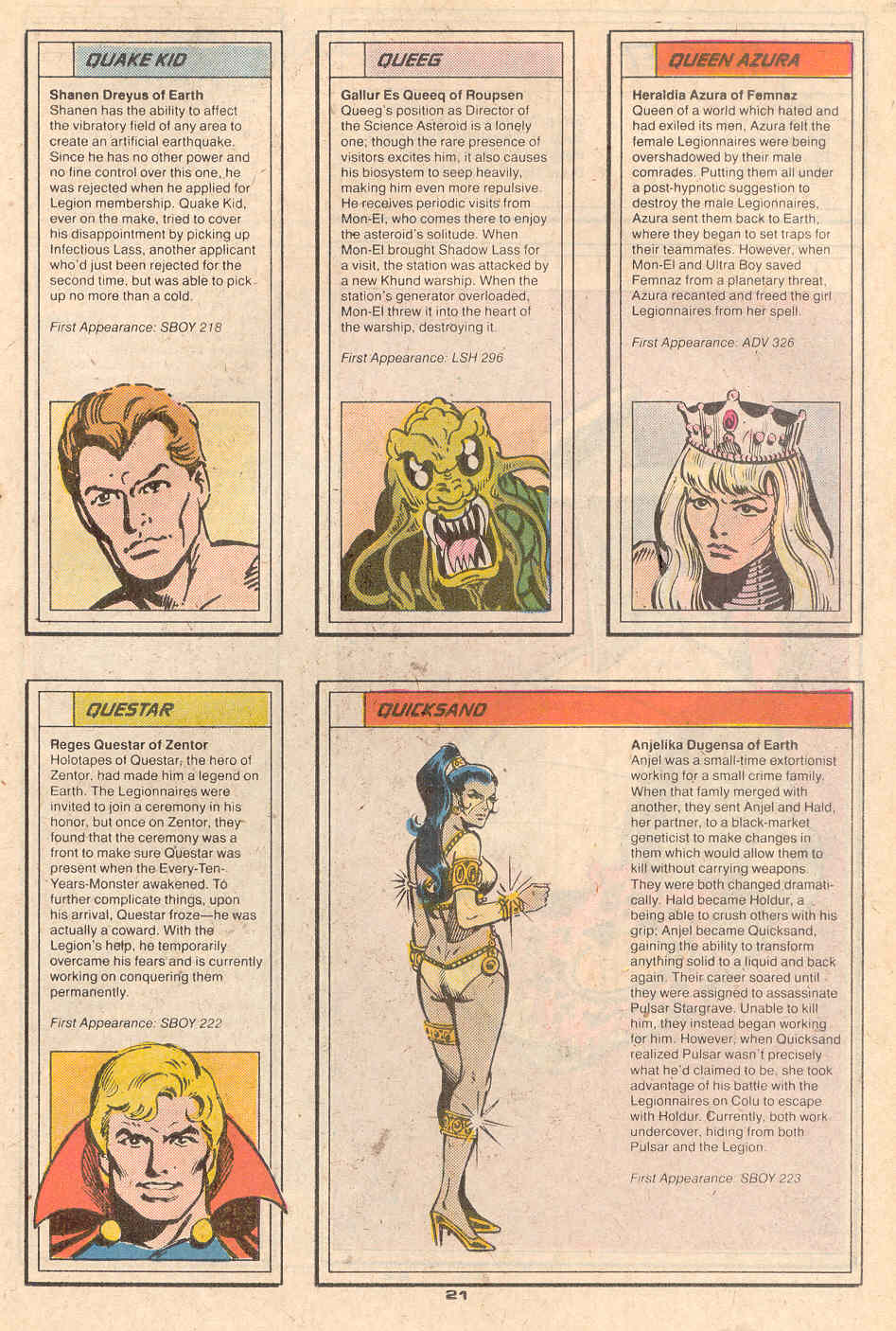 Quake Kid, Qeeg, Queen Azura, Questar, and Quicksand by Rick Stasi and Joe Rubinstein - Who's Who in the Legion of Super-Heroes #5