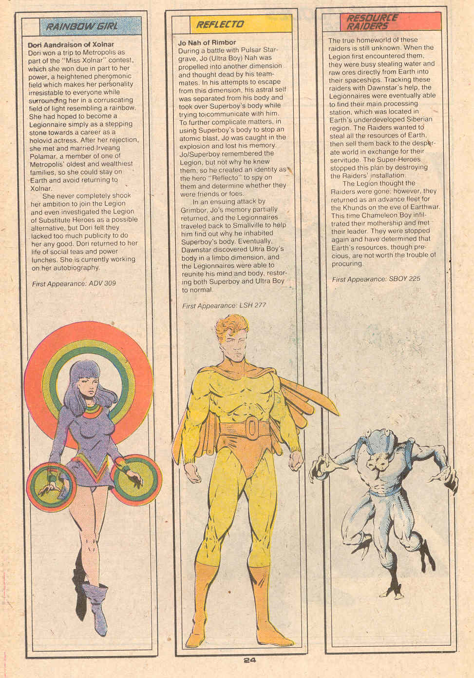 Rainbow Girl, Reflecto, and Resource Raiders by Rob Liefeld and Al Gordon - Who's Who in the Legion of Super-Heroes #5