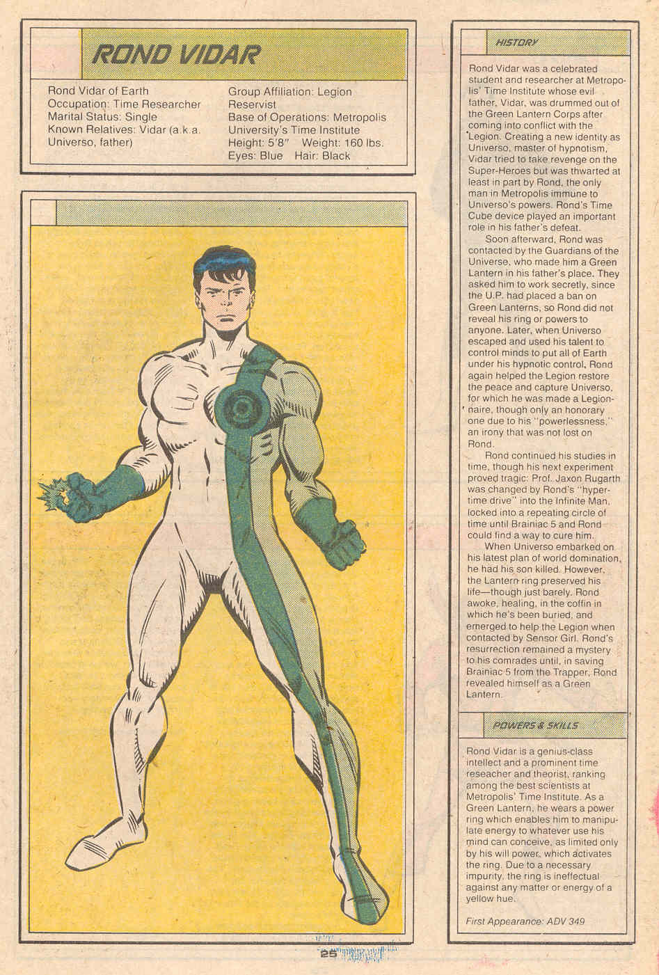 Rond Vidar by Ron Frenz and Larry Mahlstedt - Who's Who in the Legion of Super-Heroes #5