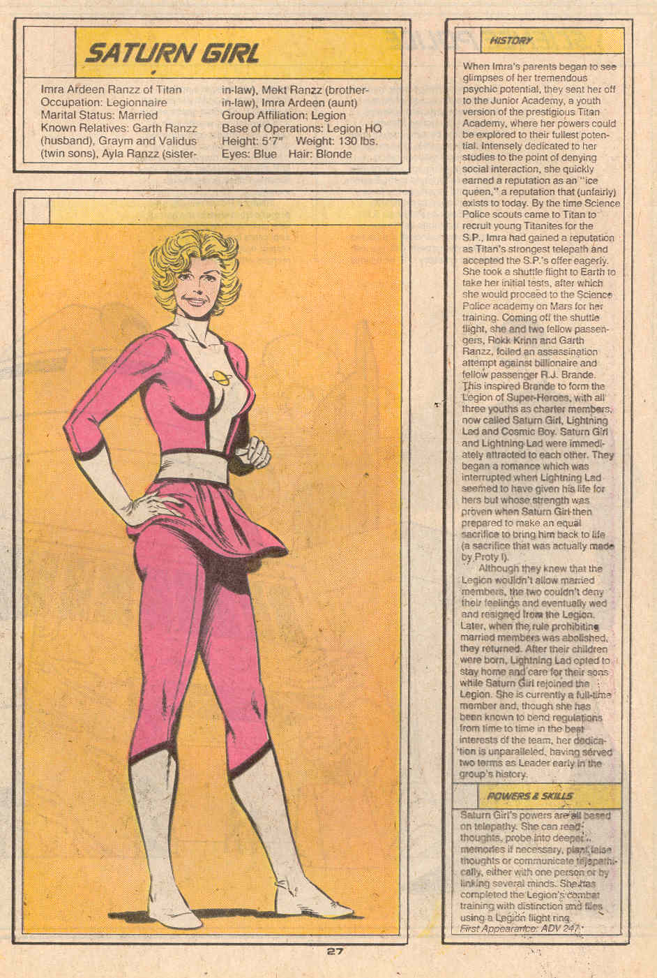 Saturn Girl by Curt Swan and Karl Kesel - Who's Who in the Legion of Super-Heroes #5