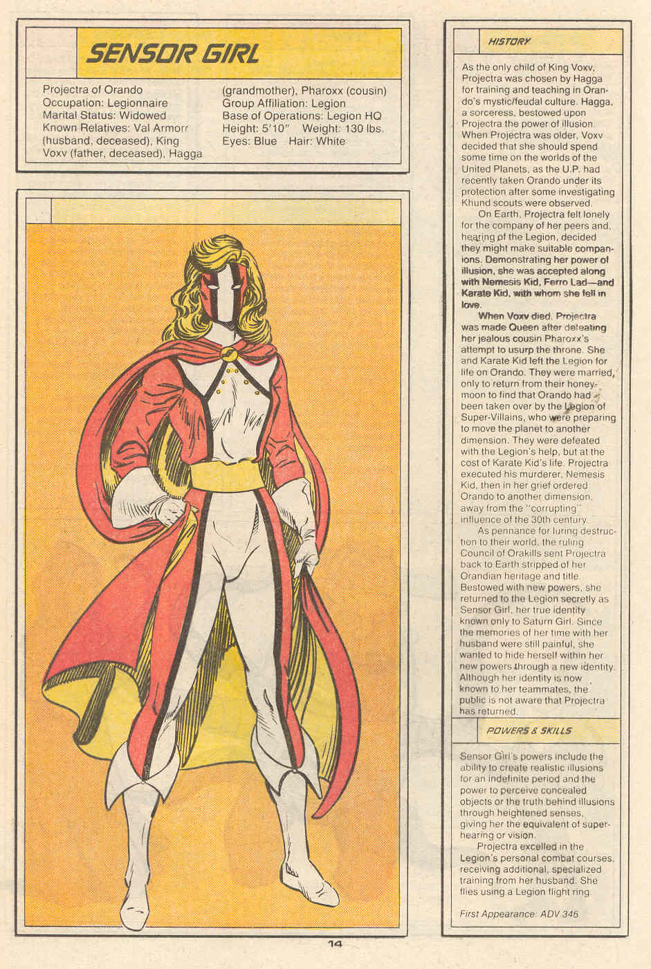 Sensor Girl by Curt Swan and Robert Campanella - Who's Who in the Legion of Super-Heroes #6