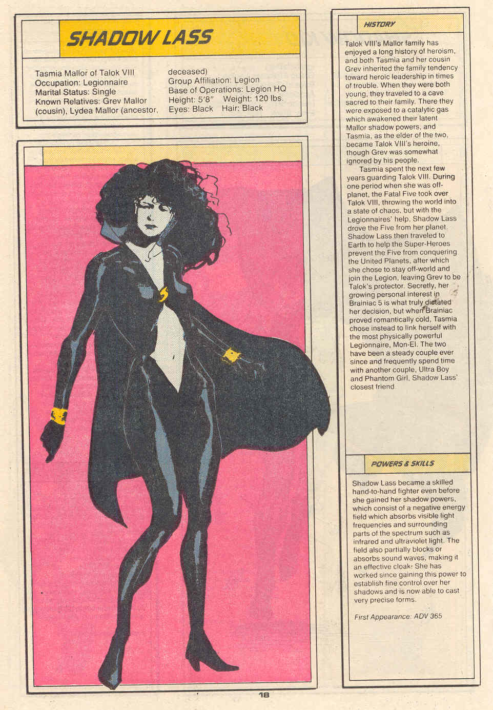 Shadow Lass by Kyle Baker - Who's Who in the Legion of Super-Heroes #6