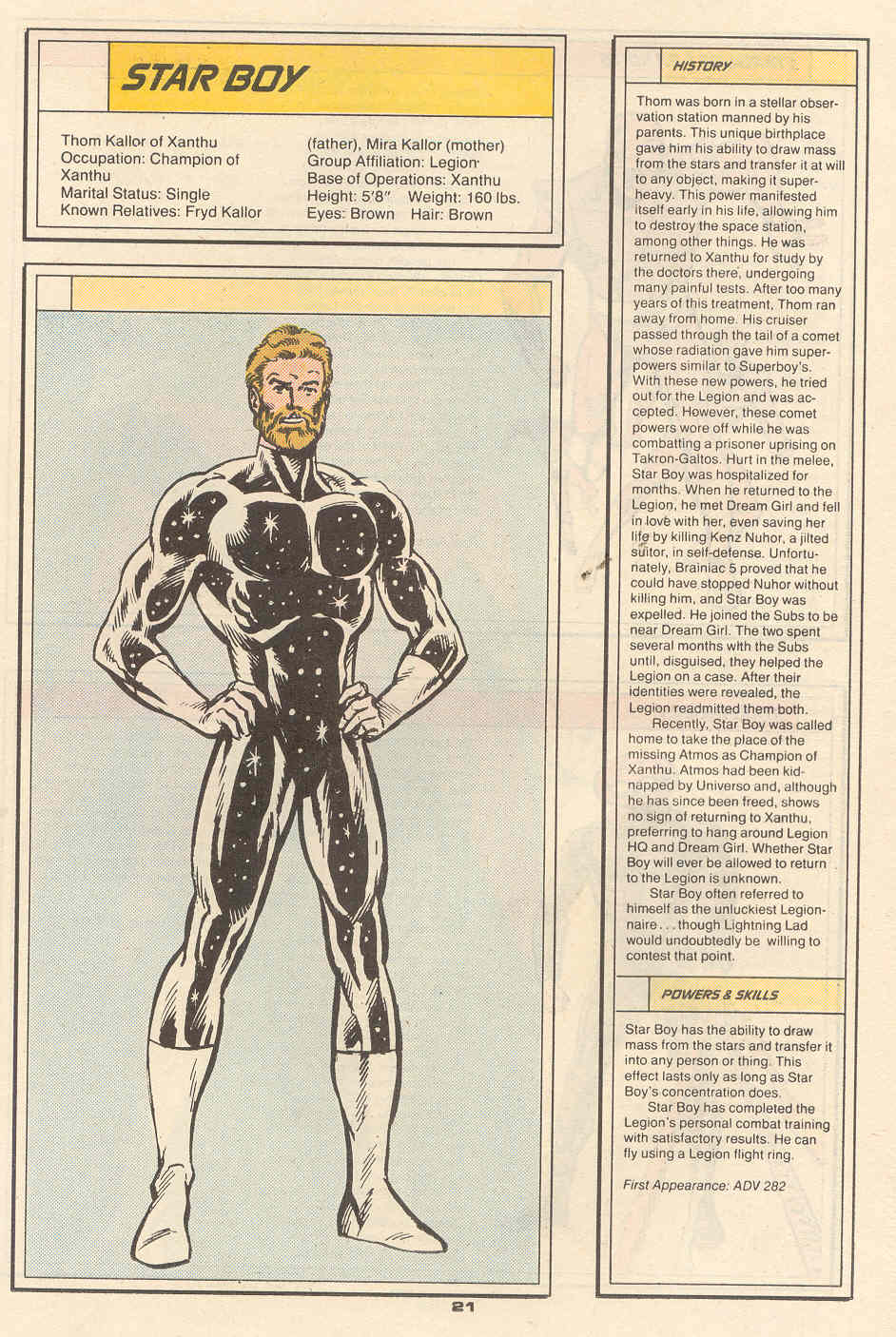 Star Boy by Kerry Gammill and Kez Wilson - Who's Who in the Legion of Super-Heroes #6