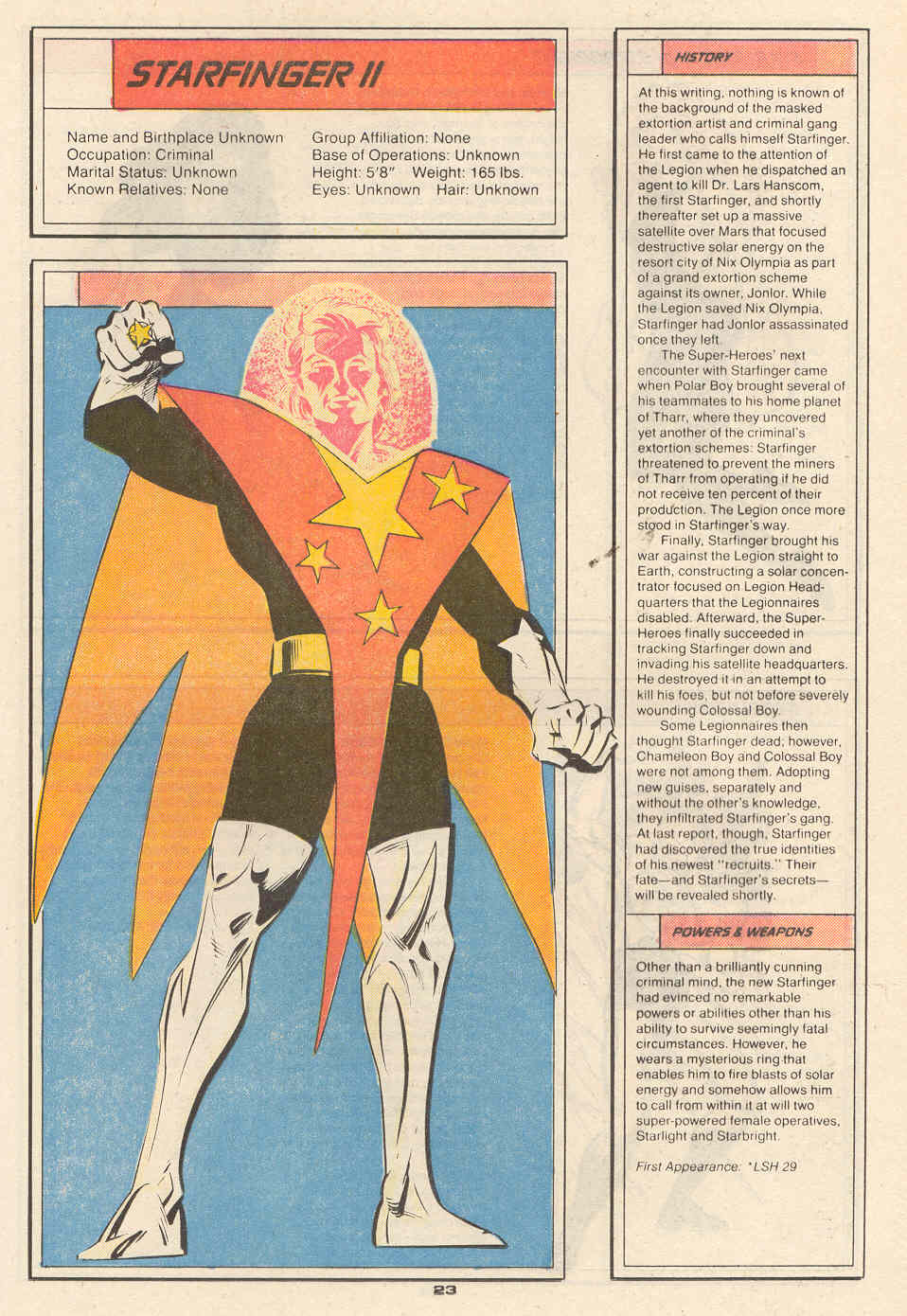 Starfinger II by Ken Steacy - Who's Who in the Legion of Super-Heroes #6