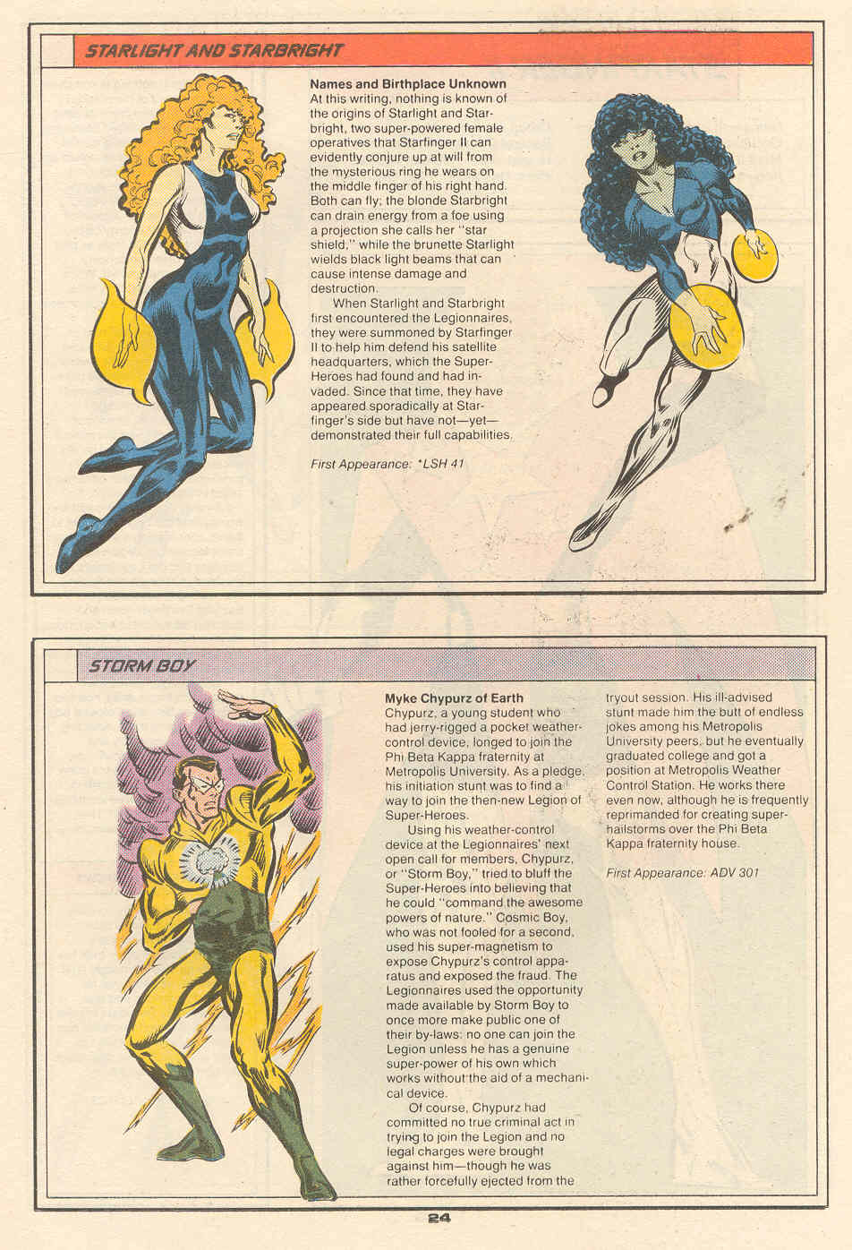 Starlight, Starbright and Storm Boy by Frank Travellin and Mike DeCarlo - Who's Who in the Legion of Super-Heroes #6