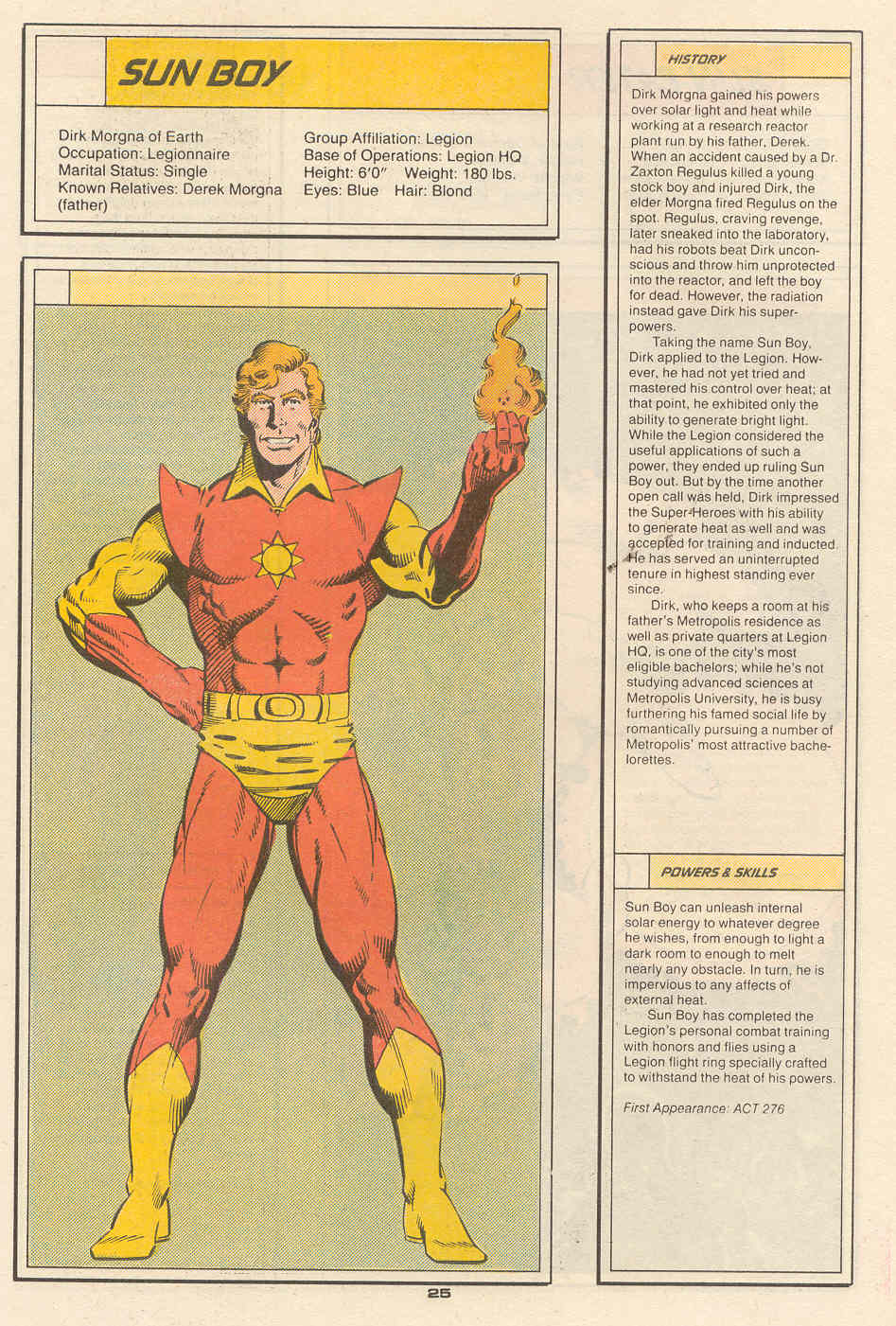 Sun Boy by Dan Jurgens and Jim Sanders - Who's Who in the Legion of Super-Heroes #6