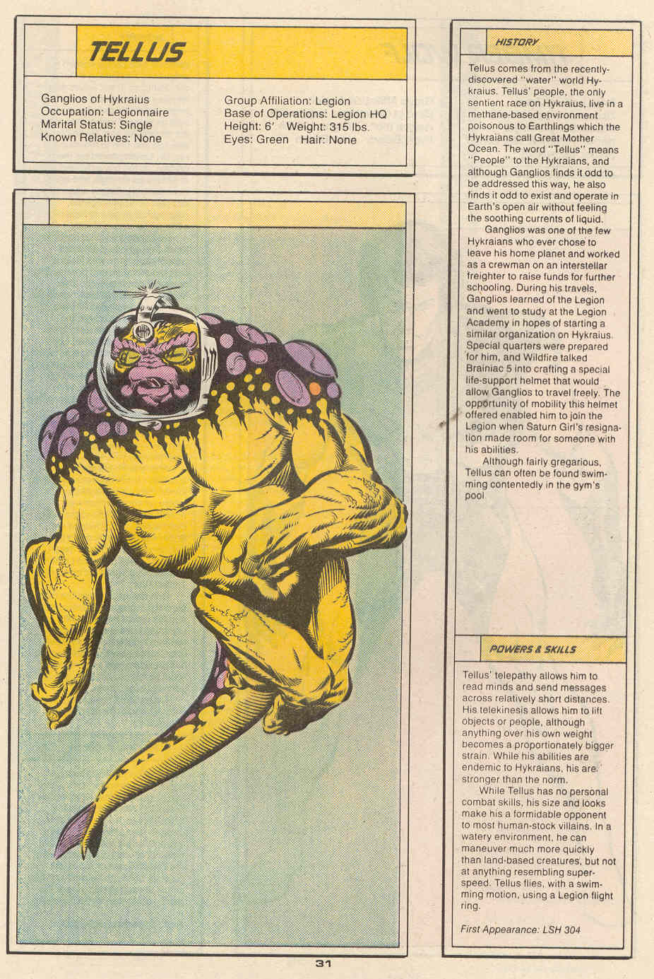 Tellus by Greg LaRocque and Mike DeCarlo - Who's Who in the Legion of Super-Heroes #6