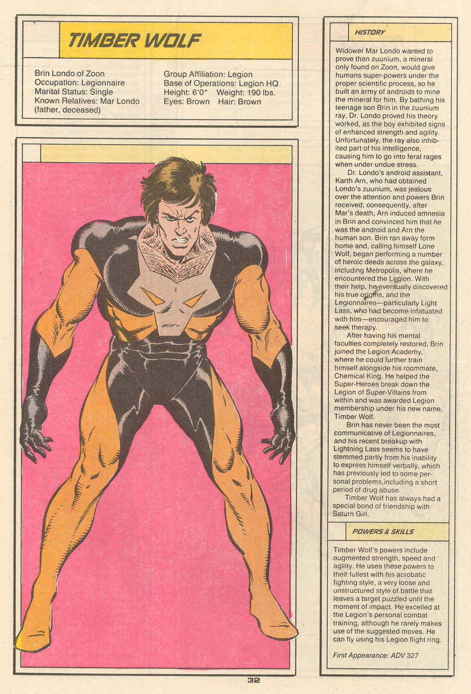 Timber Wolf by Mike Zeck - Who's Who in the Legion of Super-Heroes #6