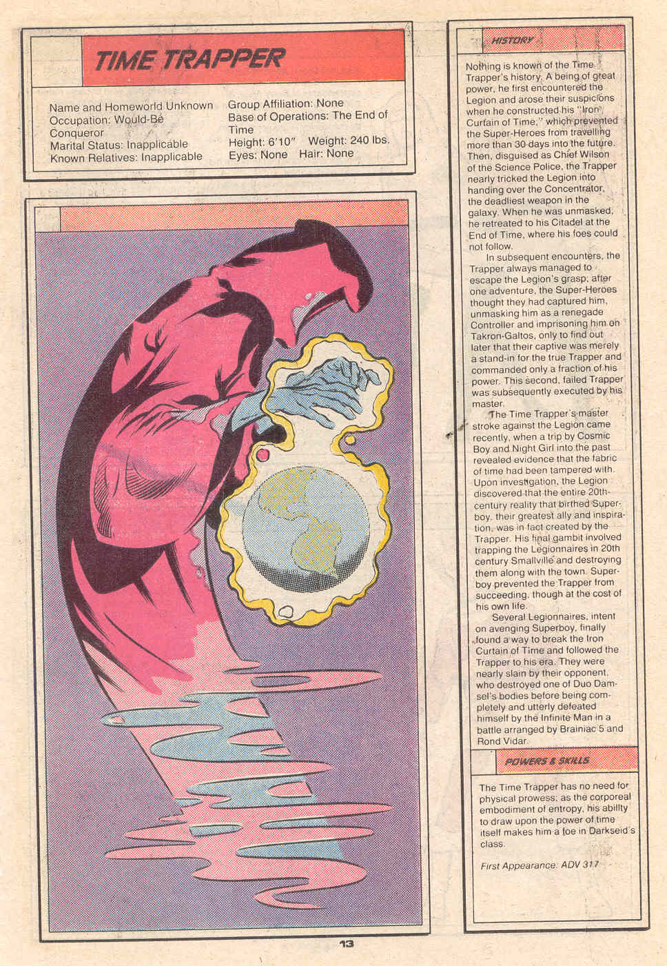 Time Trapper by Mike DeCarlo - Who's Who in the Legion of Super-Heroes #7