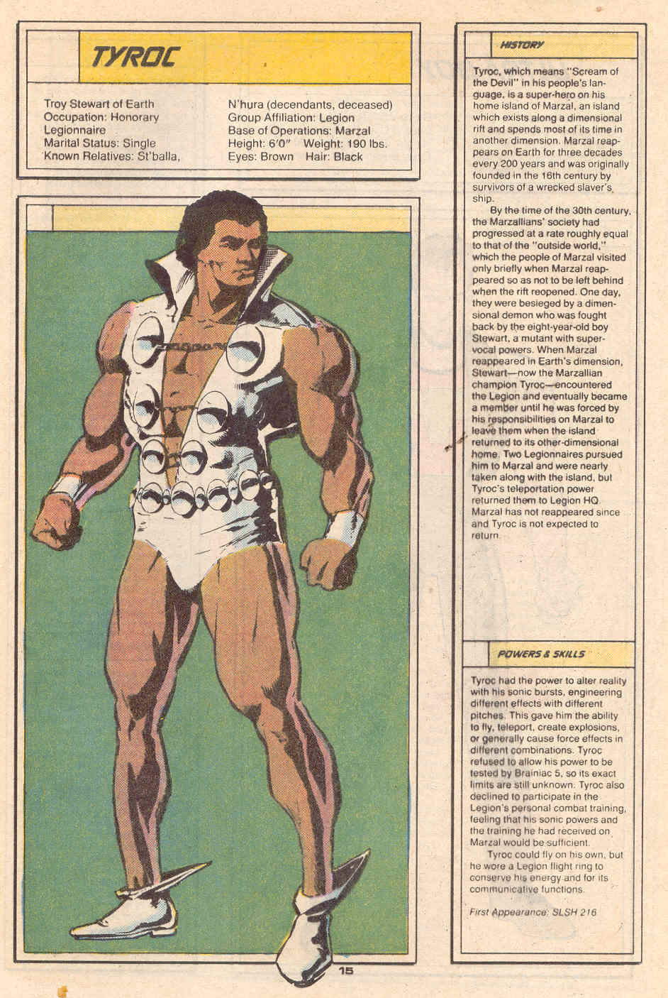 Tyroc by Kyle Baker - Who's Who in the Legion of Super-Heroes #7