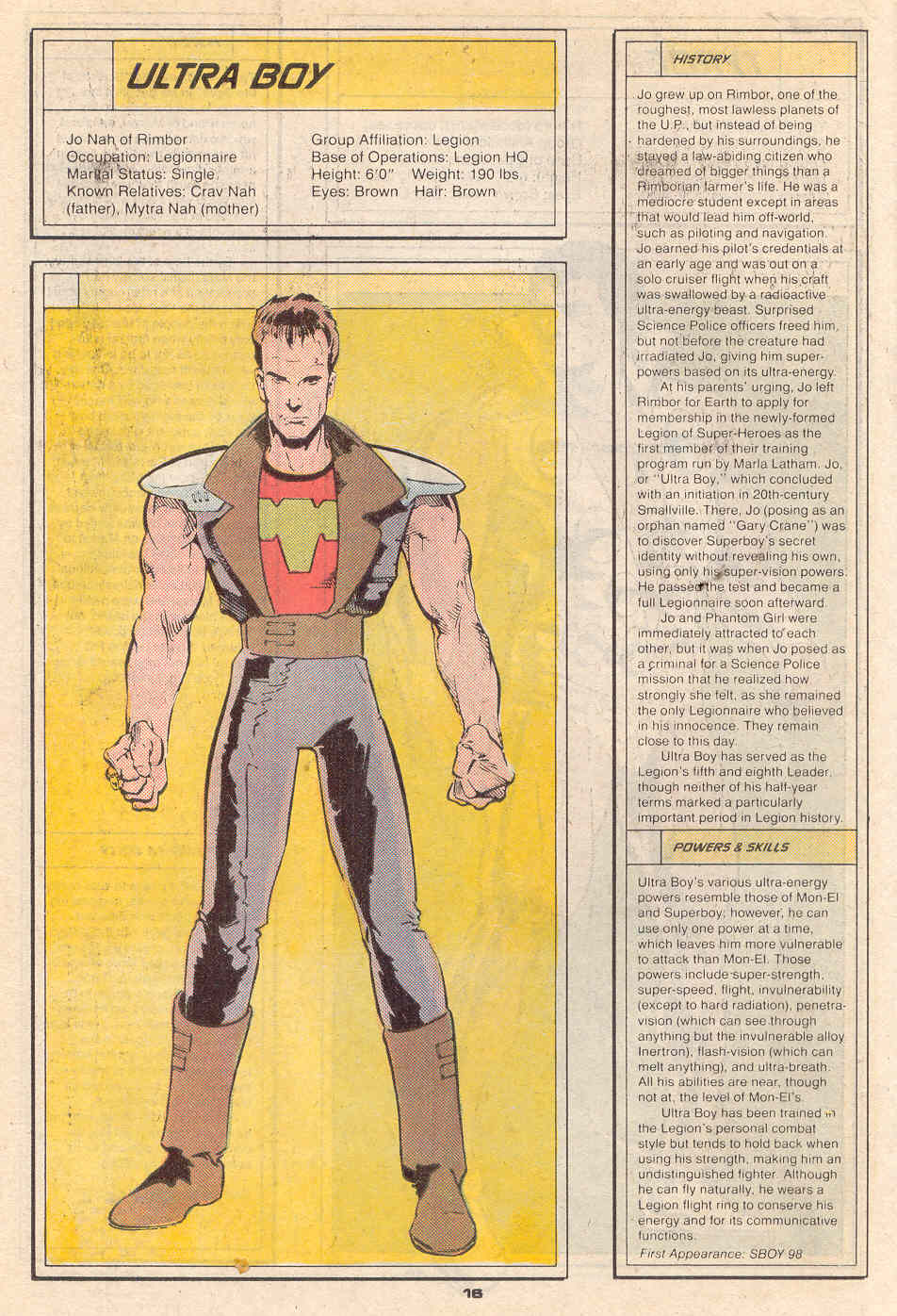 Ultra Boy by Tom Artis and Joe Rubinstein - Who's Who in the Legion of Super-Heroes #7