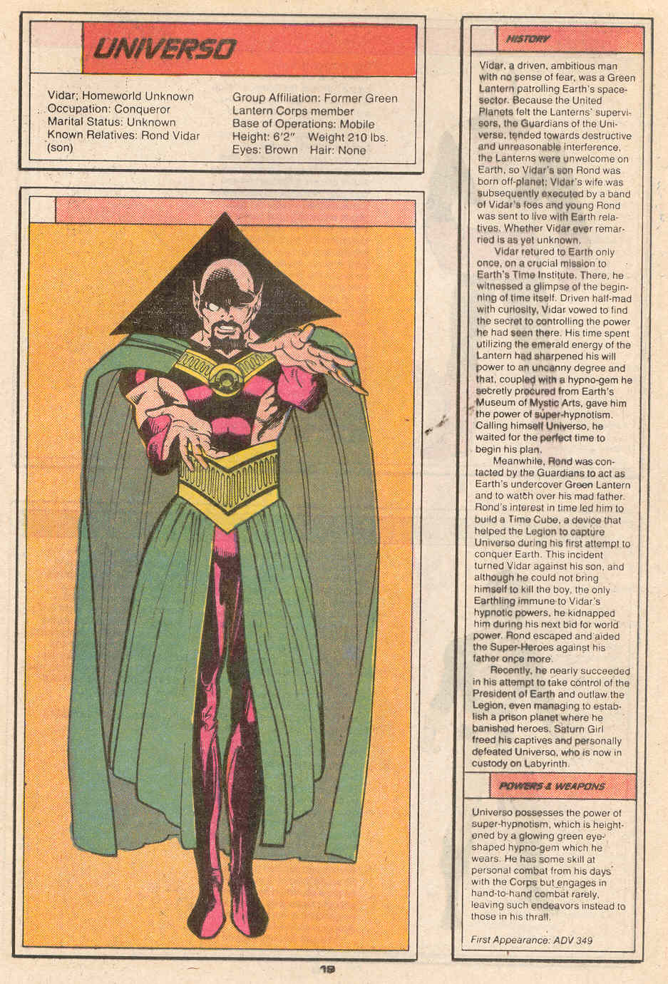 Universo by Greg LaRocque and Arne Starr - Who's Who in the Legion of Super-Heroes #7