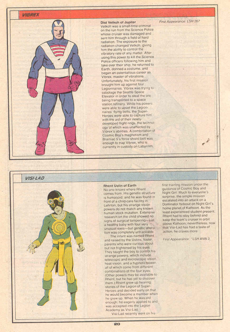 Vibrex by Keith Giffen, and Visi-Lad by Keith Giffen and Kez Wilson - Who's Who in the Legion of Super-Heroes #7