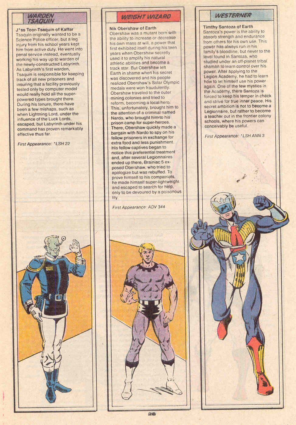 Warden Tsaquin and Weight Wizard by Terry Tidwell and Jim Sanders III; Westerner by Terry Tidwell and Kez Wilson - Who's Who in the Legion of Super-Heroes #7